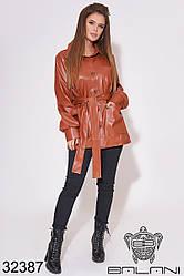 Куртка женская рыжая из эко кожи (размеры 42-44, 44-46)