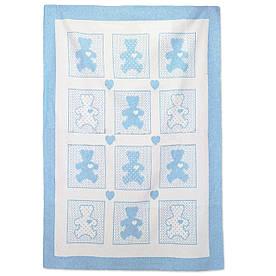 Детское одеяло Vladi жаккардовое хлопок 100x140 голубое