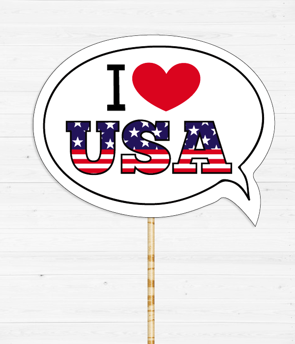 "Табличка для фотосессии ""I love USA"""