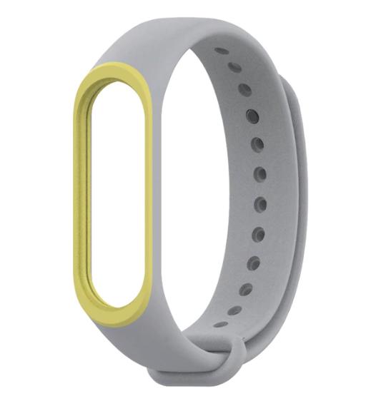 Силіконовий двоколірний сірий з жовтою смужкою ремінець на фітнес трекер Xiaomi mi band 4 / 3 браслет