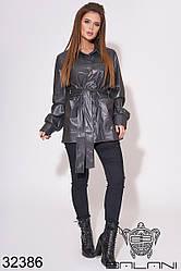 Куртка женская цвета графита из эко кожи (размеры 42-44, 44-46)