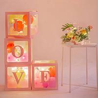 Декор для воздушных шаров (розовые кубики) LOVE, фото 1