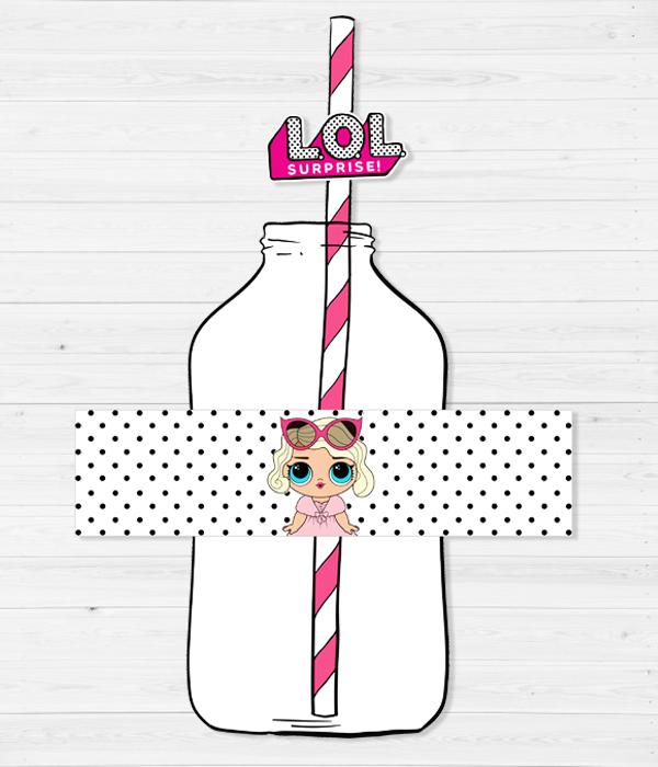 """Набор: наклейки для бутылочек и трубочки """"LOL DOLLS"""" (10 шт.)"""