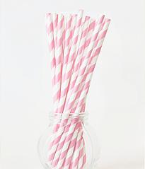 "Паперові трубочки ""Baby pink white straws"""