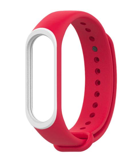 Силиконовый двухцветный красный с белой полоской ремешок на фитнес трекер Xiaomi mi band 4 / 3 браслет