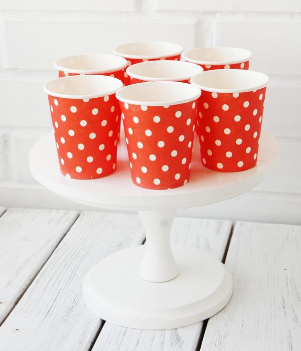 """Паперові стаканчики в горошок """"Red polka dots"""" (10 шт.)"""