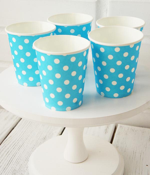 """Паперові стаканчики в горошок """"Blue polka dots"""" (10 шт.)"""