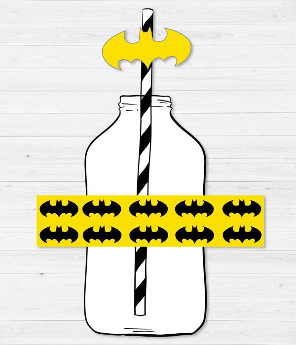 """Набор: наклейки для бутылочек и трубочки """"Бэтмен"""" (10 шт.)"""