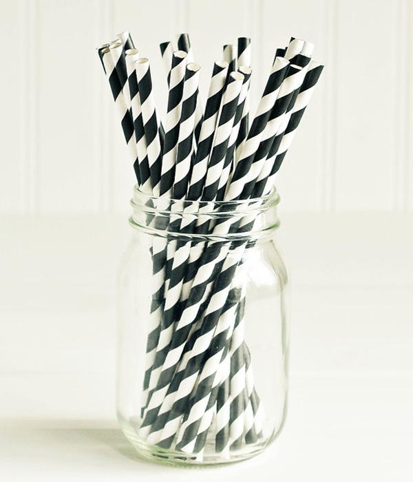 "Паперові трубочки ""Black white stripes"" (10 шт.)"