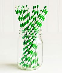 """Бумажные трубочки """"Green white stripes"""" (10 шт.)"""