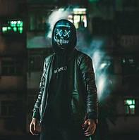 Неоновая маска (LED mask) из фильма Судная ночь Светящаяся Neon Purge Mask Синяя