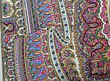 Волшебный узор 1290-2, павлопосадская шаль из уплотненной шерсти с шелковой вязаной бахромой Стандарт, фото 5