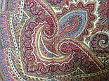 Волшебный узор 1290-2, павлопосадская шаль из уплотненной шерсти с шелковой вязаной бахромой Стандарт, фото 7