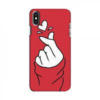 Чехол с принтом для iPhone Xs (AlphaPrint - Знак сердечка) (Айфон )