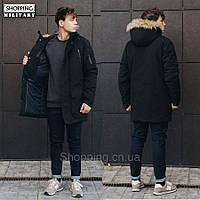 Парка куртка зимняя мужская черная Стафф Staff voic black