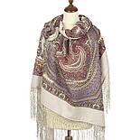 Волшебный узор 1290-2, павлопосадская шаль из уплотненной шерсти с шелковой вязаной бахромой Стандарт, фото 2