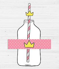 """Набор наклеек на бутылки и трубочек """"Princess Party"""""""