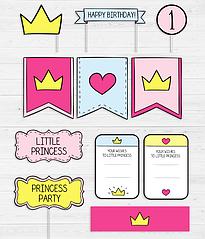 """Набор декора для дня рождения """"Princess first party"""""""