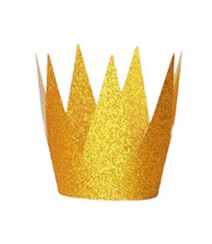 Бумажная корона блестящая золотая