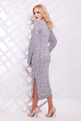 """Довге в'язане плаття у велику косичку """"LOLO"""" сіре, фото 2"""
