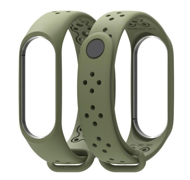 MIJOBS ремешок с отверстиями дышащий силиконовый Army green на фитнес трекер Xiaomi mi band 4 / 3