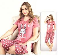 Женская пижама футболка и бриджи одежда для дома Турция, фото 1