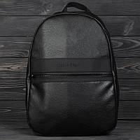Кожаный рюкзак CALVIN KLEIN в уличном стиле на каждый день, портфель унисекс, цвет черный
