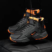 Кроссовки зимние Nike Huarache X Acronym мужские, черно-оранжевые, в стиле Найк Хуарачи Акроним, код DK-1186
