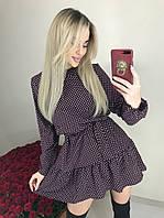Женское легкое весенне-осеннее мини платье в горошек c длинным рукавом,сзади на змейке (versace) 3 цвета