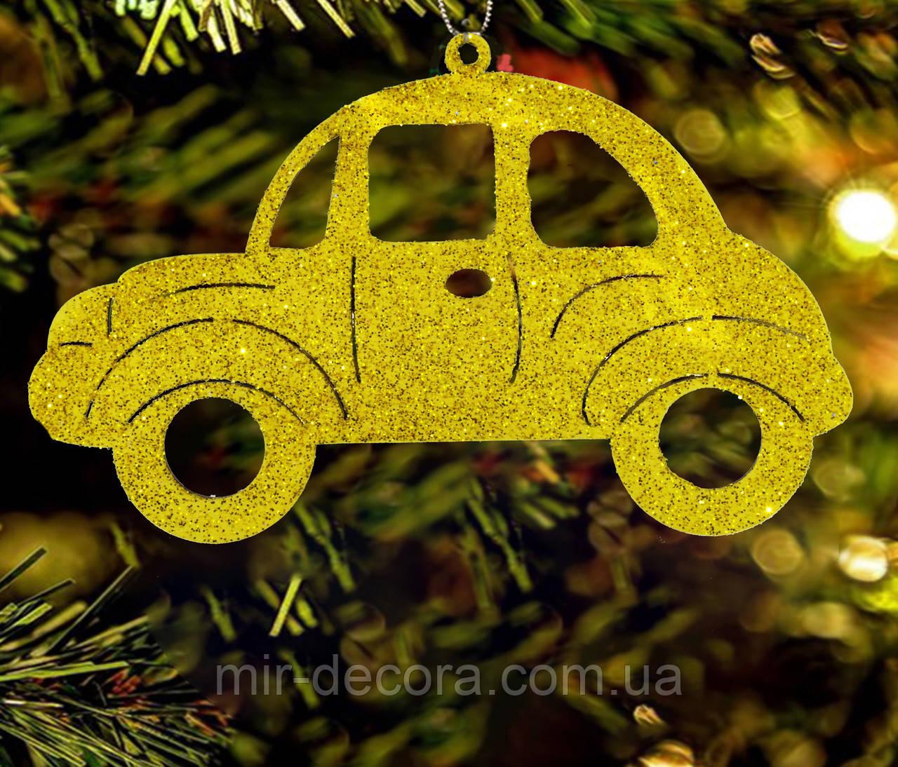 """Игрушка на елку деревянная """"Машинка 3"""" размер 12 см"""