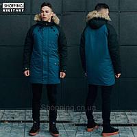 Парка куртка зимняя мужская темно синяя с черным Стафф Staff climat navy and black