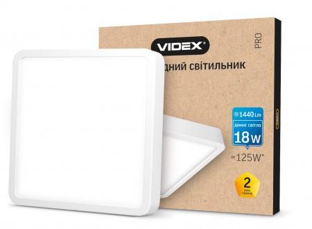 VIDEX LED светильник светодиодный квадратный НАКЛАДНОЙ Downlight 18W 5000K 1440Lm