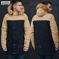 Парка куртка зимняя мужская черная Стафф Staff tor black and beige