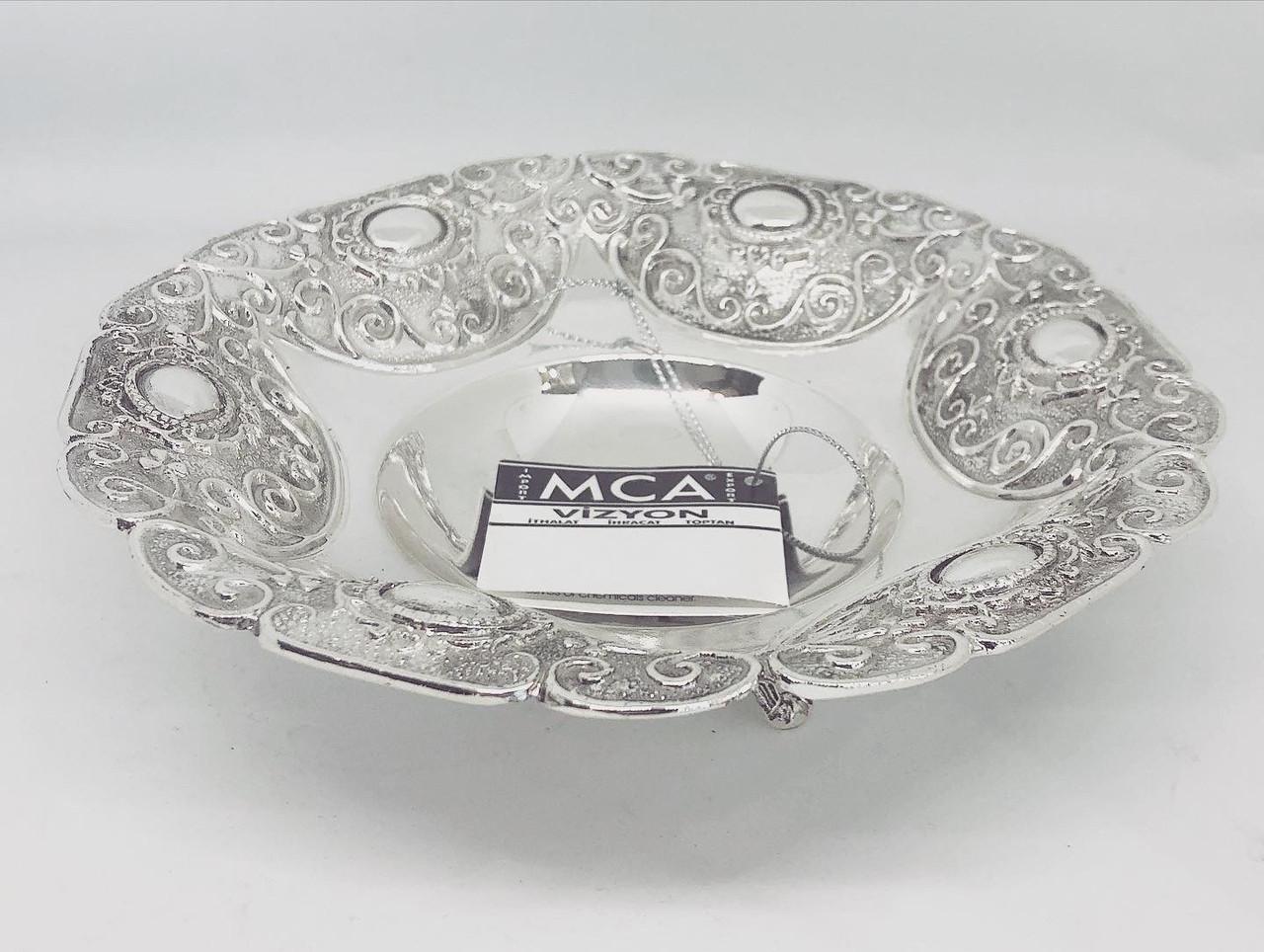 Конфетница круглая MCA Vizyon из мельхиора с посеребрением покрыта защитным слоем лака высота