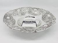 Конфетница круглая MCA Vizyon из мельхиора с посеребрением покрыта защитным слоем лака высота, фото 1