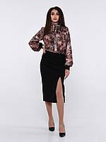 Блуза шёлковая с шарфиком под горло и  длинным рукавом леопардовая