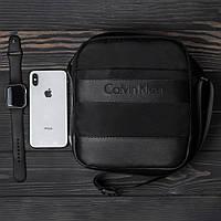 Стильная барсетка CALVIN KLEIN, мужская сумка через плечо Кельвин Кляйн, мессенджер, цвет черный