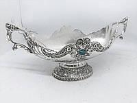 Конфетница MCA Vizyon из мельхиора с посеребрением и камнем бирюза, фото 1