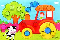 Детская деревянная игра сортер Трактор