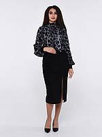 Блуза шёлковая с шарфиком под горло и длинным рукавом чёрная