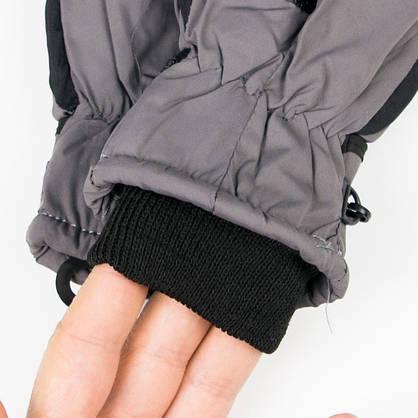 Лыжные детские перчатки для мальчиков №18-12-4 черно-серый, фото 2