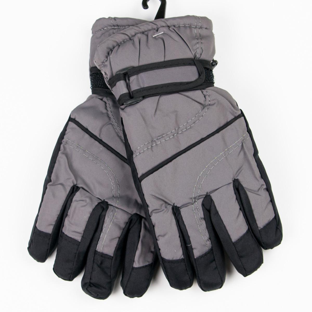 Лыжные детские перчатки для мальчиков №18-12-4 черно-серый