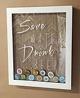 Копилка для пивных крышек «Save water drink beer» белая