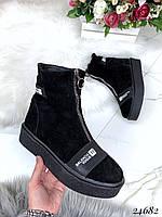 Ботинки Balenciaga зимние на замке натуральный замш. Аналог