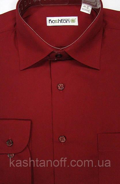 Яркая мужская рубашка в бордовом цвете