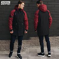 Парка куртка зимняя мужская черная с красным Стафф Staff look black and red
