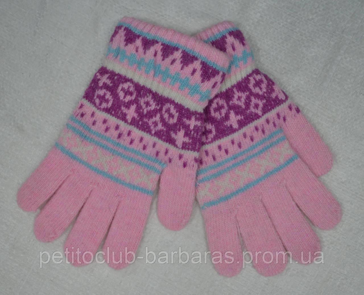 Перчатки детские вязанные для девочки розовые (Ugur, Турция)