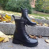 Ботинки женские кожаные черные на шнуровке by Vinata, весна/осень, размер 36-41