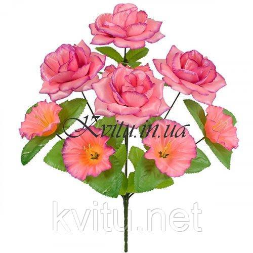 Искусственные цветы букет роз атлас с колокольчиком на подставке, 41см