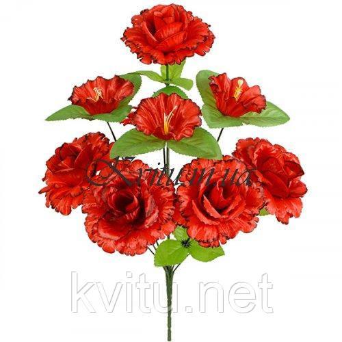 Искусственные цветы букет розы кучерявые с колокольчиком, 44см